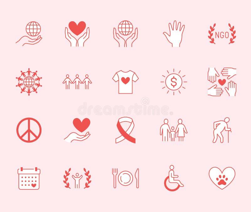 Geplaatste pictogrammen van de liefdadigheids de vlakke lijn Schenking, organisatie die zonder winstbejag, NGO, hulp vectorillust royalty-vrije illustratie