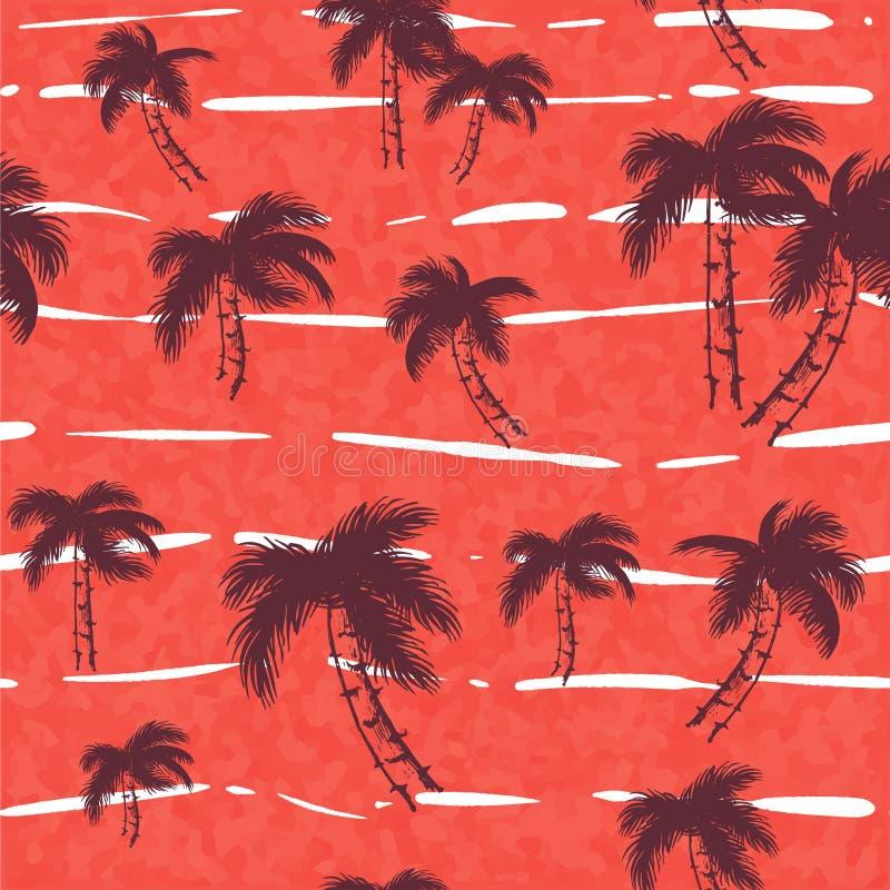 与热带树的无缝的样式 在桃红色红色例证的黑暗,明亮的棕榈 在背景的密林叶子 向量例证