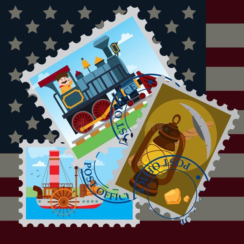 Hintergrundpost in Amerika Stempel mit dem Bild einer alten Dampflokomotive, des Dampfers und der Kerosinlampe Stempel auf einem  stock abbildung