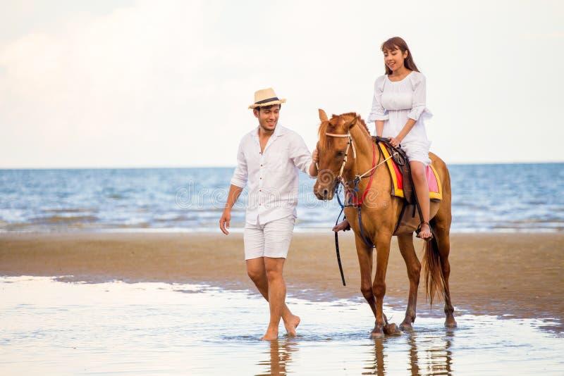 青春恋恋恋的情侣在蓝天海滩上与马一起散步 热带海暑 新郎 免版税库存图片