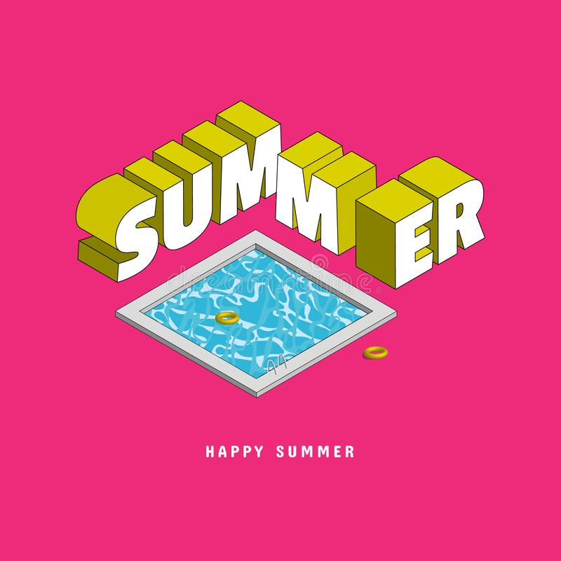 Libellé de l'été avec le texte de typographie dans le style isométrique Sans compter que par la piscine et l'anneau de vie Utilis illustration stock