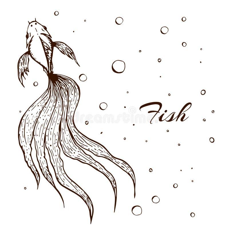 装饰手拉的鱼例证 速写的线鱼图表 与泡影的长的波浪被盯梢的鱼在白色 ?? 库存例证