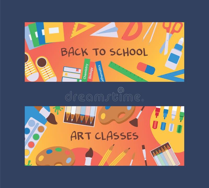 背包物品透视图 返回学校 供应横幅、传单、海报、邀请 向量例证