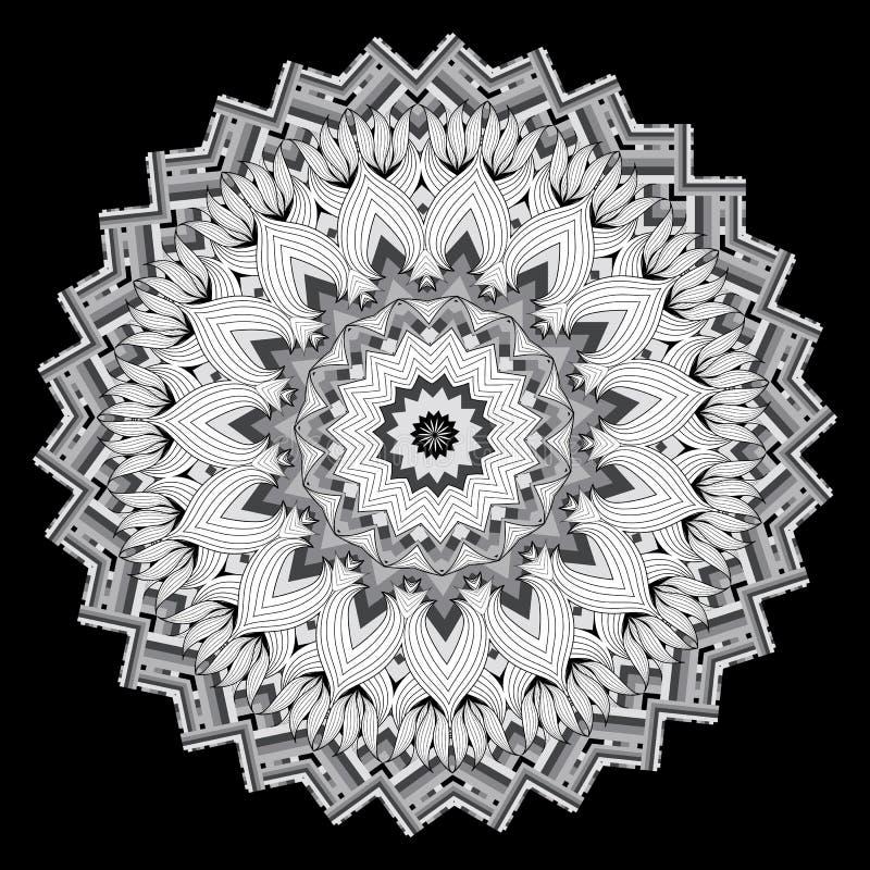 五颜六色的种族样式之字形坛场样式 传染媒介装饰部族背景 与条纹的圆的几何抽象装饰品 库存例证