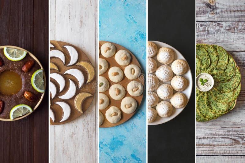 竖条状拼贴,展示阿拉伯糖果 阿拉伯饮食 斋月食品背景 免版税库存照片