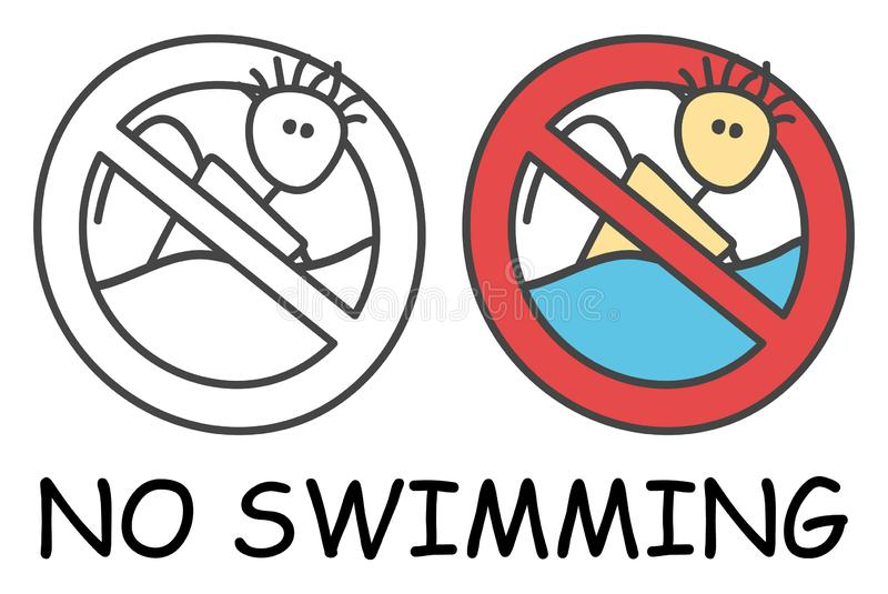 滑稽的传染媒介棍子游泳者对于儿童样式 没有游泳的标志红色禁止 o 禁止象贴纸 向量例证