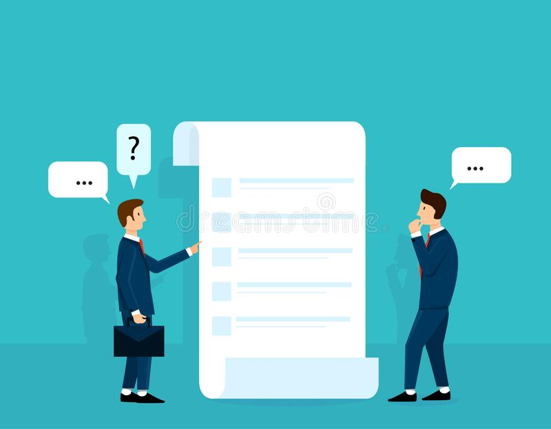 商人考虑计划或命令名单和谈话与辅导者 填好表格  传染媒介例证设计观念 向量例证