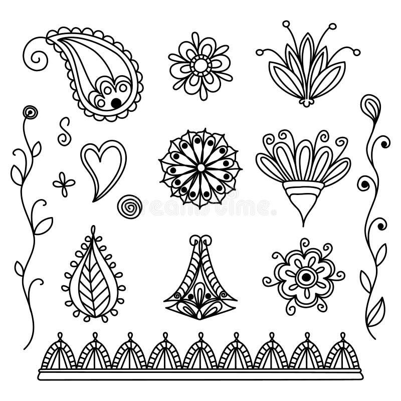 设置简单的印度mehendi 与乱画漩涡和花的无刺指甲花汇集 r 皇族释放例证