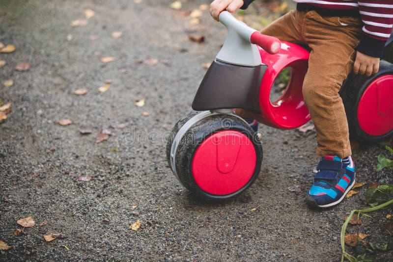 Närbilden av barn cyklar med ett barn som sitter på den Modern unges plast- cykel på vägen Första transport royaltyfri bild