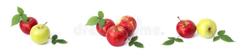 设置在白色背景的红色苹果 红色水多的苹果与黄色斑点的在白色背景 j的构成 免版税图库摄影