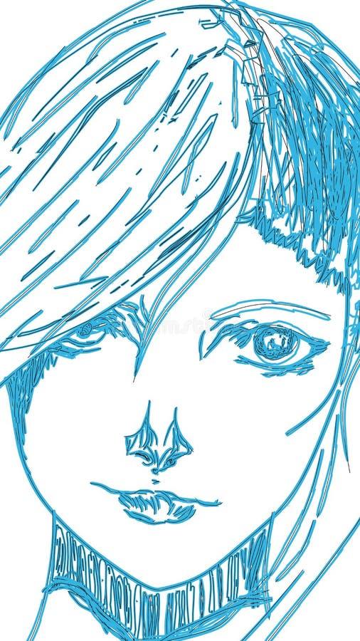 Un tiraggio del ritratto Signora affronta il tiraggio del ritratto Signora creativa affronta l'arte immagini stock