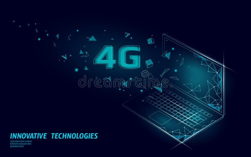 4G新的无线互联网wifi连接 膝上型计算机移动设备等量蓝色3d平展 全球网络高速 皇族释放例证