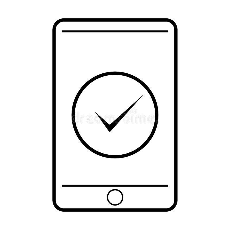 Tela Smartphone com marca de seleção Ícone de Destaque aprovado e correto no estilo plano Marcar marca de escala como símbolo ok  ilustração stock