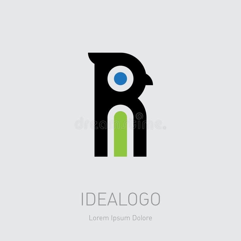 Ave com bico e crista logo inicial R e I Tipo de logotipo inicial do monograma RI IR - O elemento ou ícone de desenho do vetor pa ilustração royalty free