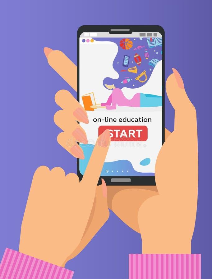 在平的样式的传染媒介网上教育概念 拿着有教育应用程序的两只手手机在屏幕上 遥远的e- 库存例证