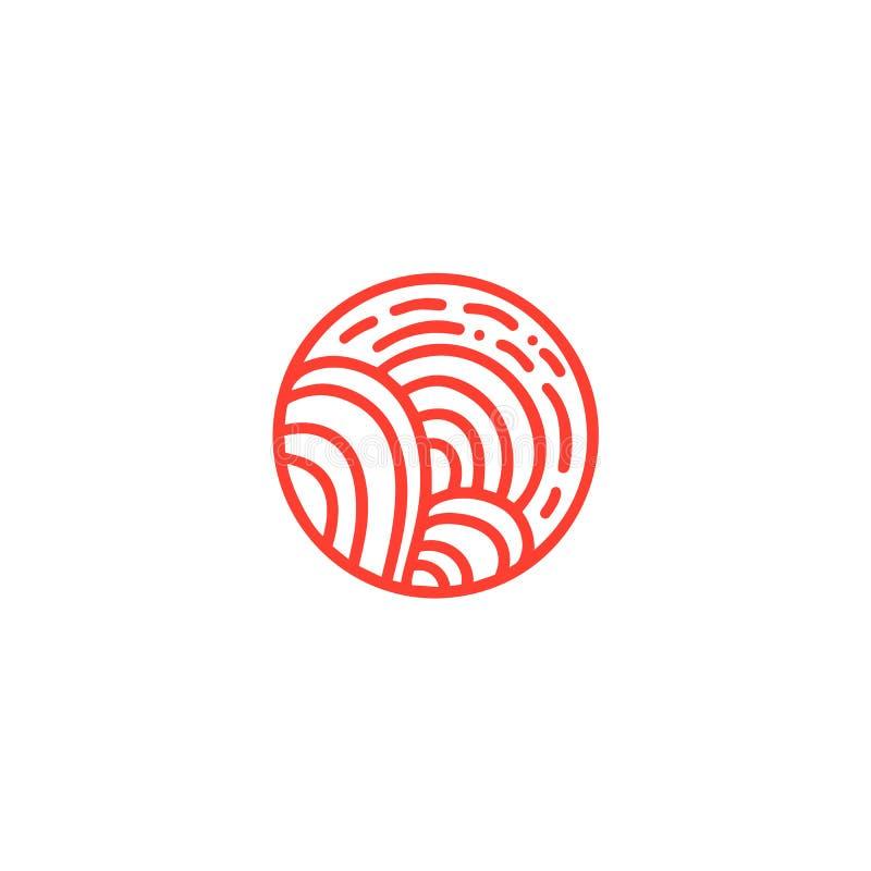 Organisches Logo des roten Vektors Rundes Natur-Landwirtproduktemblem Abstrakte Straße und Sonne oder Bäume in einem Kreis lizenzfreie abbildung