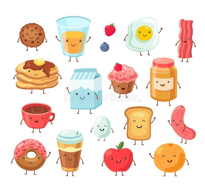 Caracteres de comida do café da manhã Cartum engraçado almoço ovos de maçã bolo de torrada sal sal Conjunto de vetores de amigos  ilustração royalty free