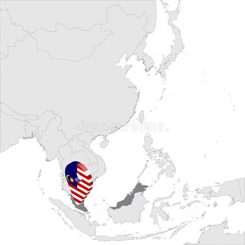 亚洲地图上的马来西亚地图 3d马来西亚标志地图标记位置针 马来西亚高质量地图 东南亚 向量例证