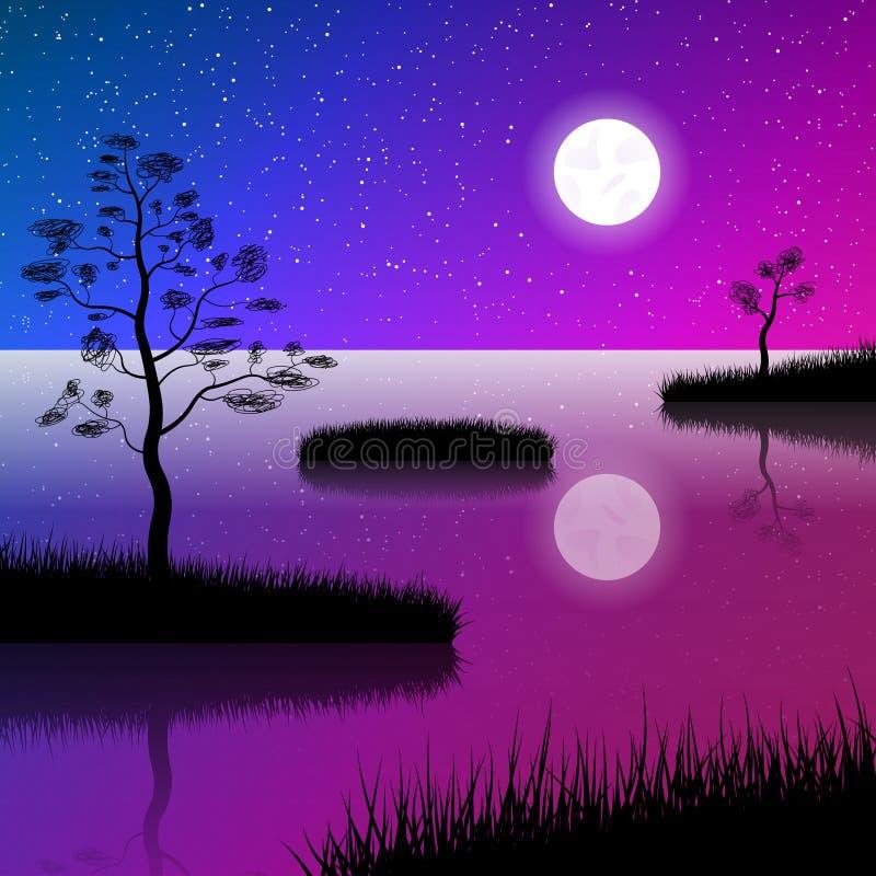 Natthimmel på sjön Fullmåne- och stjärnavattenreflexion Öar som täckas med gräs och ensamma träd royaltyfri illustrationer