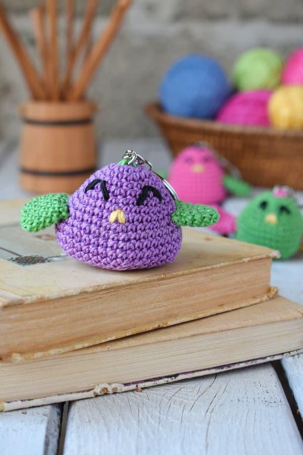 色的钩针编织鸟 婴孩或小装饰品的玩具 手工制造礼物 DIY工艺概念 免版税图库摄影