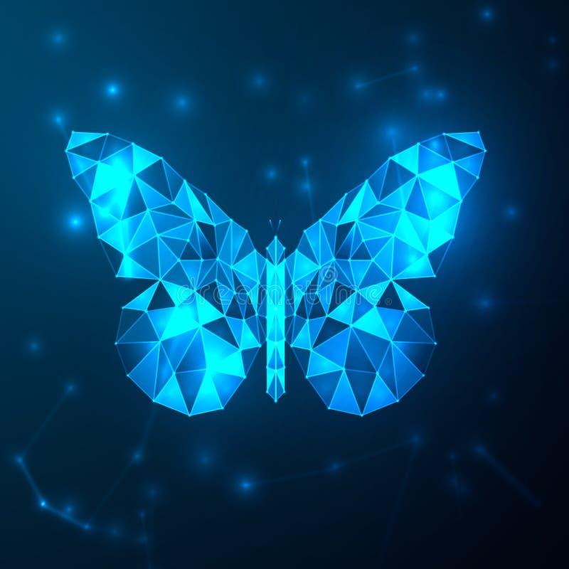 摘要蓝色未来派蝴蝶低多角形 与多角形形状的技术在深蓝背景 墙纸和商标 皇族释放例证