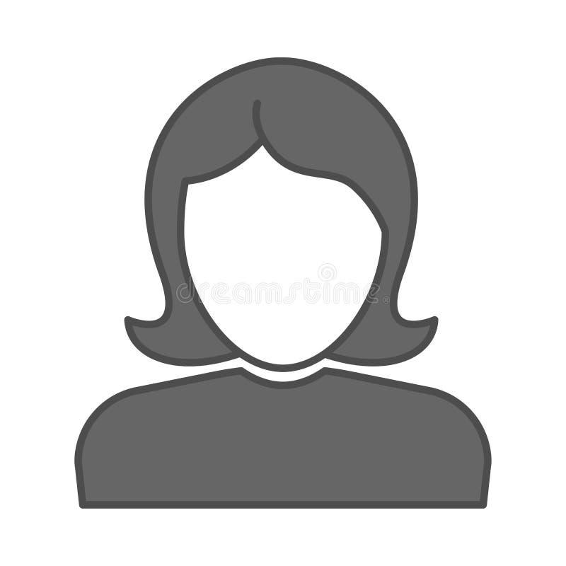商业女性侧面影像标志 矢量阴平板图标 女性头脸,女性用户化身 女办公室经理 库存例证