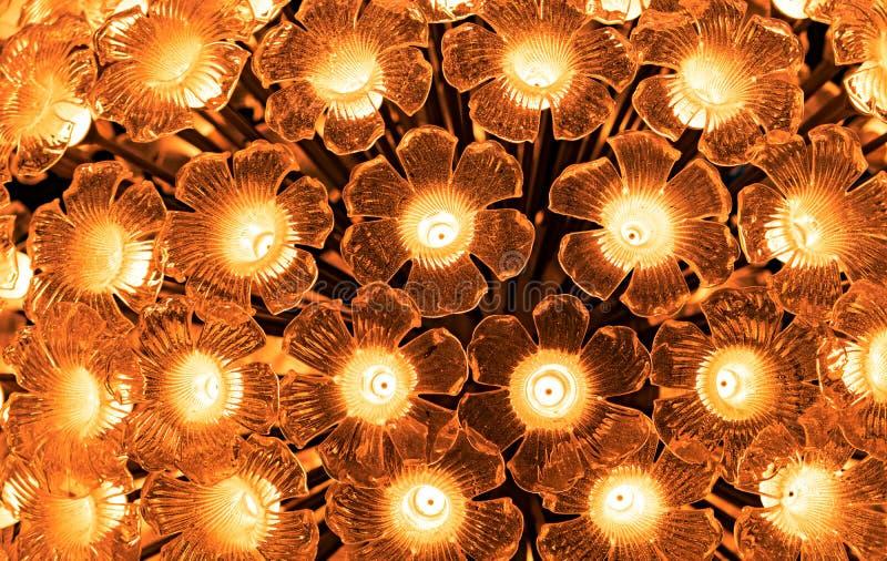 花形玻璃灯 用花形玻璃装饰的LED灯泡 古典设计风格的装饰灯 金 免版税库存图片