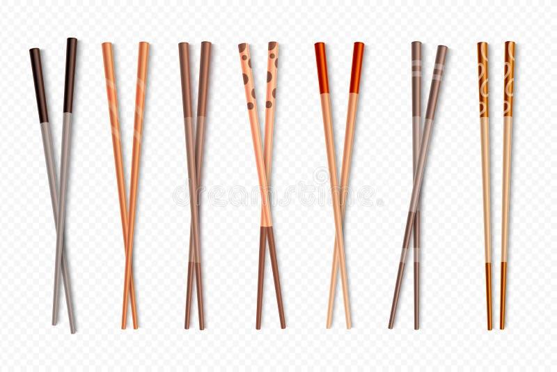 Palillos de la comida Palillos de bambú asiáticos del sushi para la comida china y japonesa, sistema aislado cubiertos tradiciona stock de ilustración