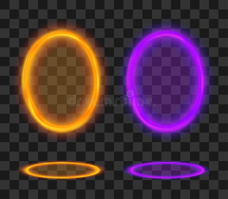 Волшебный портал Футуристические апельсин и фиолет teleport Набор рамки вектора накаленный фантазией бесплатная иллюстрация
