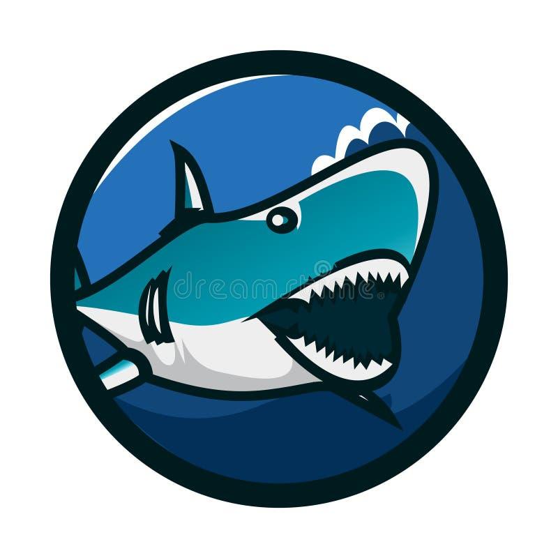 Design för logo för hajcirkelemblem Identitet för hajsymbolslogo Illustration för hajhuvudvektor vektor illustrationer