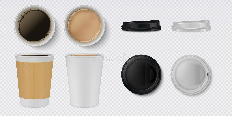 现实纸咖啡杯 3D白色和棕色杯子和杯子大模型有顶视图 传染媒介咖啡馆热的饮料容器集合 库存例证