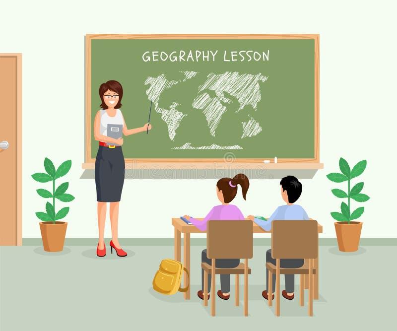 地理教训平的传染媒介例证 有显示黑板的尖的女老师大陆 r 库存例证