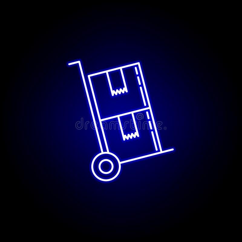 de lijnpictogram van kardozen in blauwe neonstijl Reeks pictogrammen van de logistiekillustratie De tekens, symbolen kunnen voor  royalty-vrije illustratie