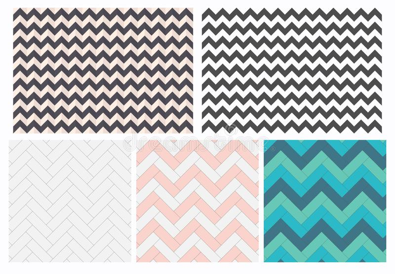 Reeks geometrische vectortexturen Naadloze abstracte zigzagdocument patronen De gelamineerde achtergrond van de vloerkleur vector illustratie