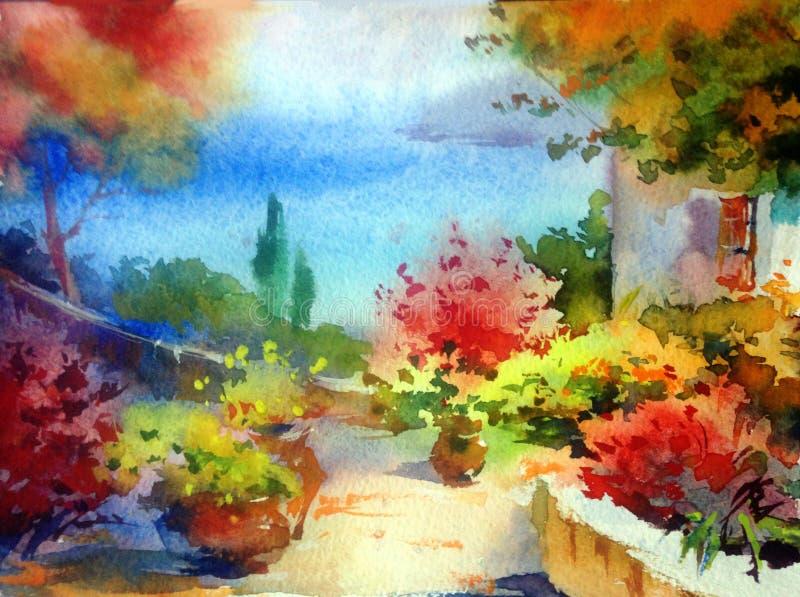 手工制造水彩五颜六色的明亮的织地不很细摘要的背景 地中海风景 绘沿海 皇族释放例证