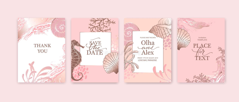 一组结婚卡,邀请 保存日期海样式设计 浪漫的海滩婚礼夏季背景 手绘 向量例证