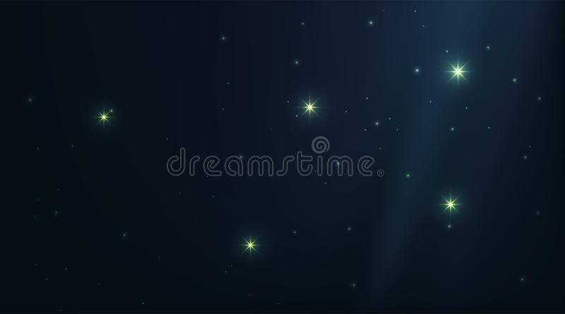 与发光的星的黑暗的宇宙夜空 星座阴影深刻的蓝色背景 明亮的向量空间星系例证 向量例证