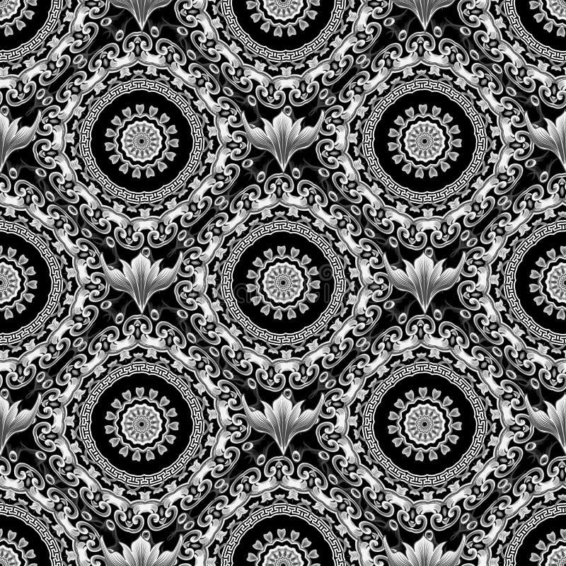 巴洛克式的黑白传染媒介无缝的样式 希腊装饰背景 与希腊关键河曲的锦缎装饰品 皇族释放例证