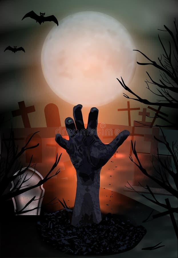 Zombie wyciąga rękę z ziemi Halloween w pionie Cmentarz z nagrobkami i księżycem Wektor royalty ilustracja