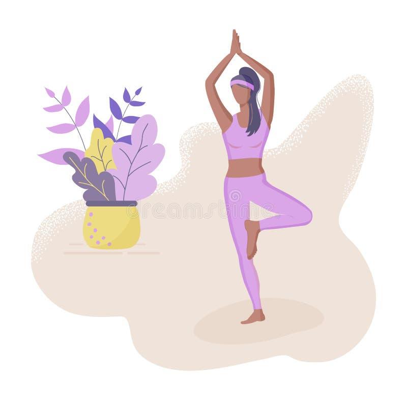 модная концепция фитнес-класса: милая черная девушка, стоящая в позе йоги. Стиль рисунков Flat Funky Украшенные красивые листья иллюстрация вектора