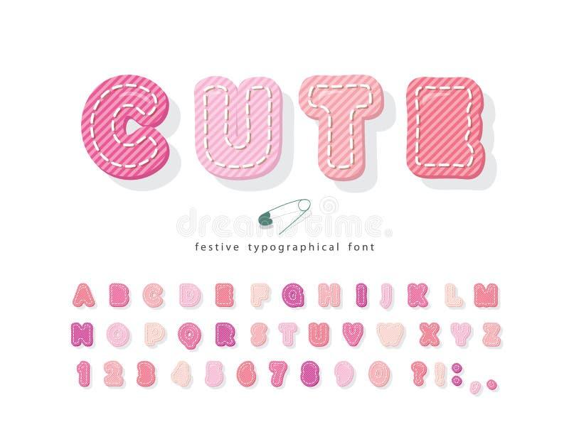 Karikatur in rosa Schrift Baumwolltexturalphabet für Mädchen Decorative 3d-ABC-Buchstaben und -Zahlen Vector vektor abbildung