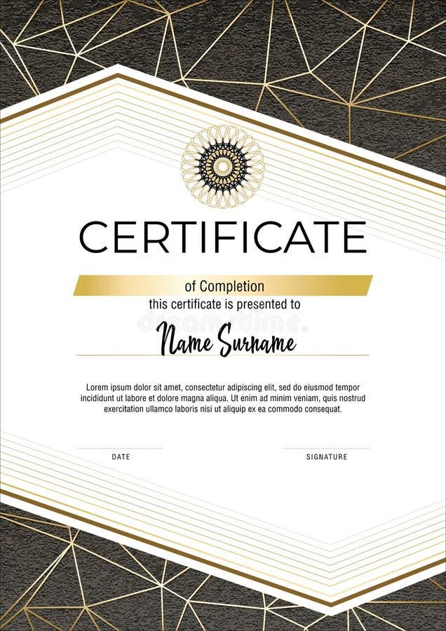 Certificaat met metalen goudlijnen op grijze achtergrond Model voor een modern horisontaal certificaat Elegant diploma vector stock afbeelding