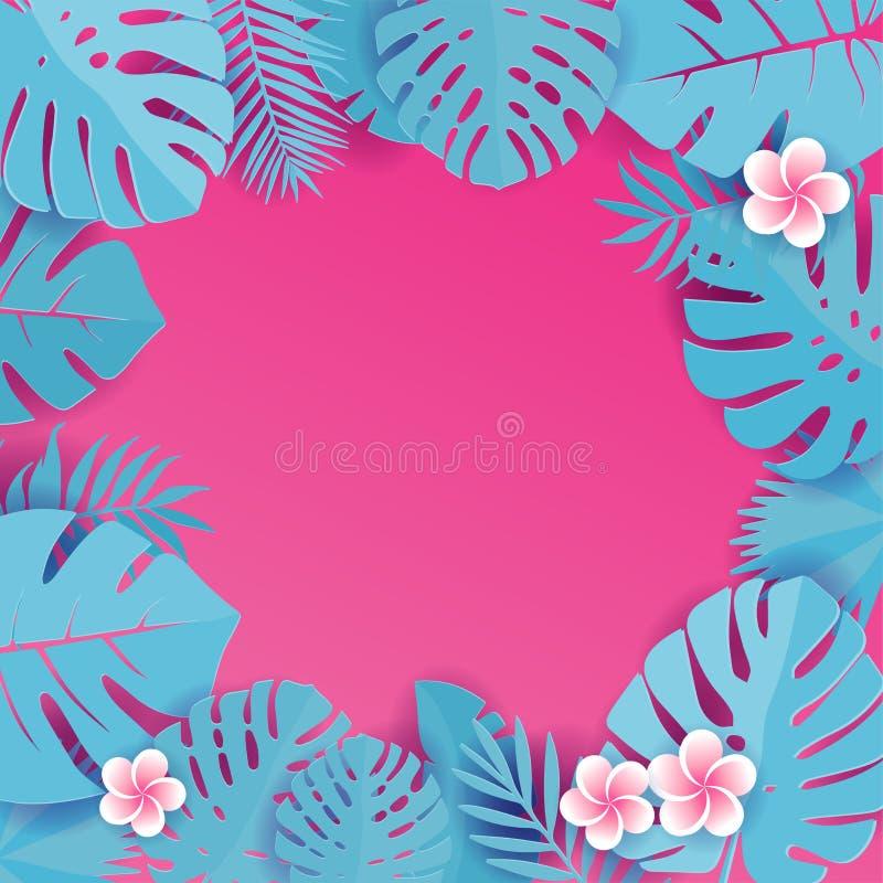 Fond abstrait avec feuilles tropicales bleues cyanes Motif de la jungle avec fleurs de frangipaniers Arrière-plan de découpe de c photo libre de droits