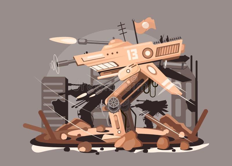 Ilustração vetorial do robô cibernético Modelo plano de monstro de robôs voadores ciborgue Steampunk Nano tech e ilustração royalty free