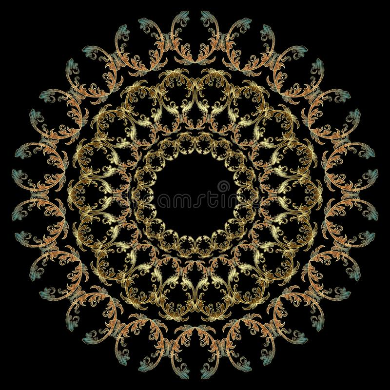 Modèle de mandala ronde baroque de broderie d'or Ornement de luxe texturé Tapisserie baroque de style victorien illustration libre de droits