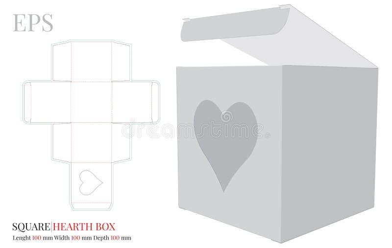 Modèle de boîte carrée, vecteur avec découpe de dés / découpe laser Boîte avec illustration du coeur Blancs, clairs, vierges, iso illustration stock