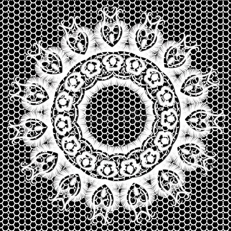 Forme de mandala en rond de broderie noire et blanche Arrière-plan de dentelle ornementale de la tapisserie Grunge orné illustration stock