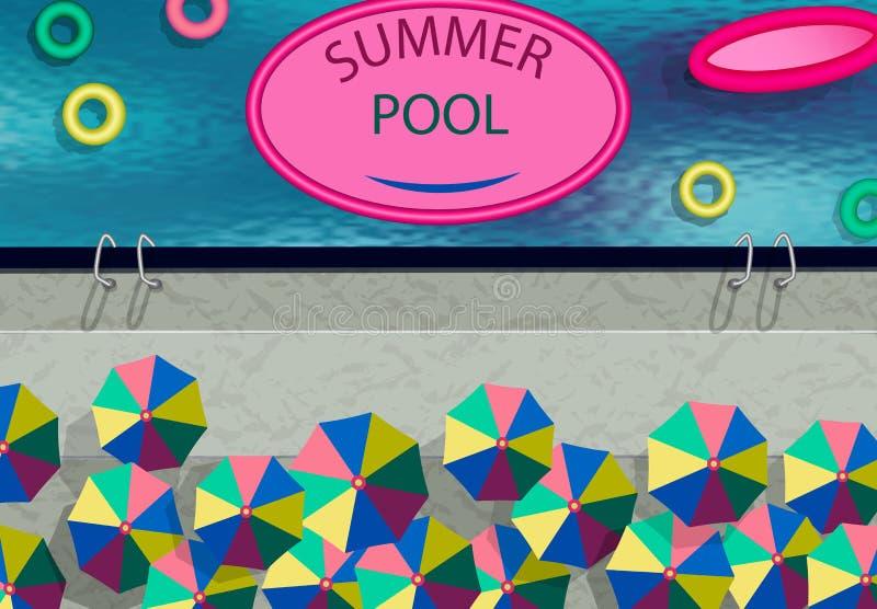 风格化为无人机的照片 夏季游泳池,雨伞,游泳圈 插图 向量例证