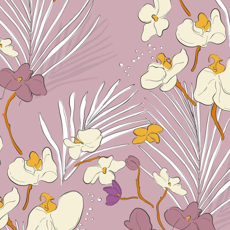 Patrón de orquídea de hoja Hermosa textura primaveral con flores de flor Decoración tropical de jungla Fondo de tela romántica libre illustration
