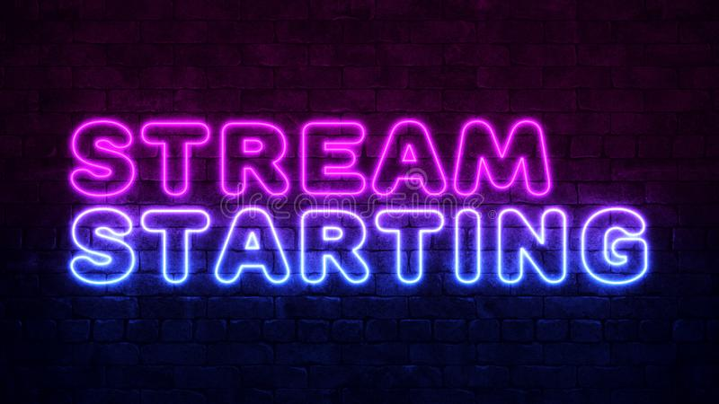 Stroom startachtergrond Paars en Blue Neon op een donkere bakstenen muur Professioneel ontwerp voor gamingstream-banner royalty-vrije illustratie